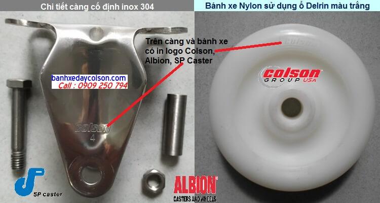 Chi tiết càng cố định inox 304 bánh xe nhựa nylon