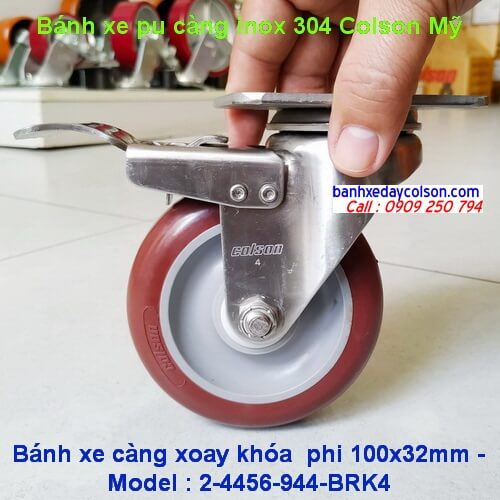 Bánh xe đẩy pu càng inox có khóa d100