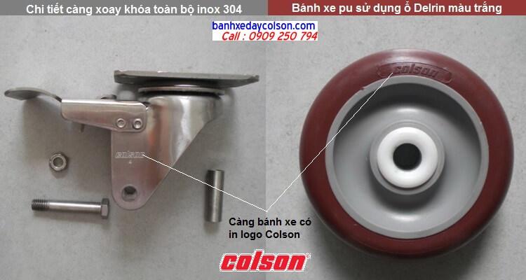 Chi tiết càng bánh xe đẩy pu có khóa inox 304 banhxedaycolson.com