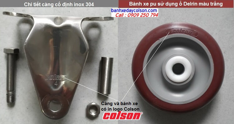 Chi tiết càng bánh xe đẩy pu cố định inox 304 banhxedaycolson.com