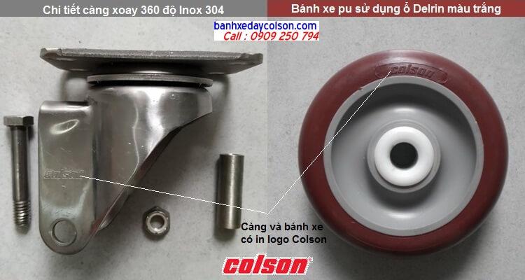 Chi tiết càng bánh xe đẩy pu xoay 360 độ inox 304 banhxedaycolson.com
