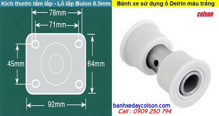 Kích thước tấm lắp bánh xe càng inox 304 Colson 2 Series banhxedaycolson.com