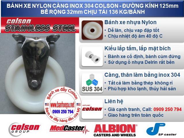 Bánh xe nhựa nylon 6 pa càng inox 304 colson phi 125