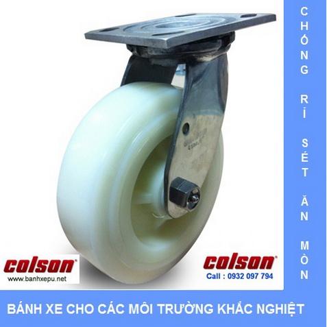 Bánh xe nhựa Nylon càng inox xoay chịu tải nặng Colson www.banhxedayhang.net