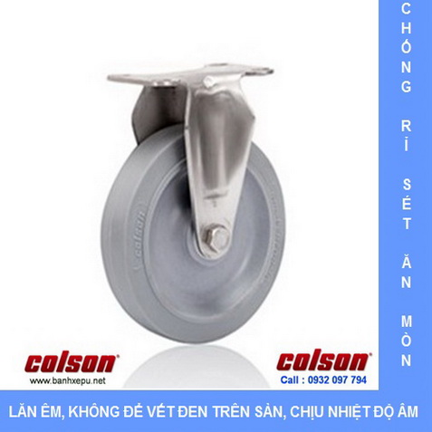 Bánh xe đẩy cao su càng thép không rỉ inox 304 www.banhxepu.net