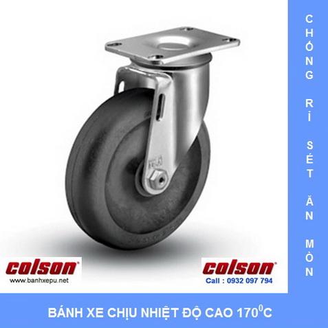 Bánh xe đẩy chịu nhiệt độ cao càng inox www.banhxepu.net