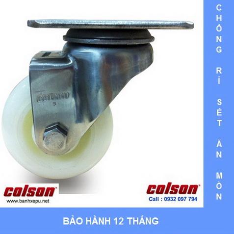 Bánh xe Nylon càng inox cho xe đẩy dược phẩm Colson www.banhxepu.net