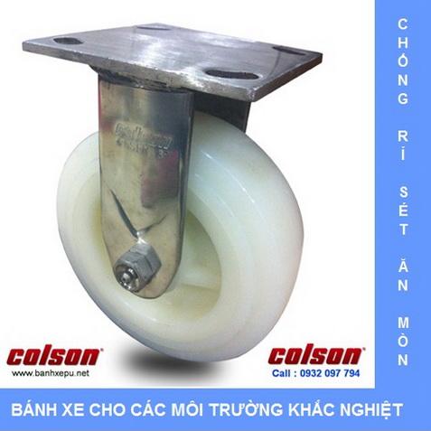 Bánh xe công nghiệp Nylon trắng càng inox 304 Colson www.banhxedayhang.net