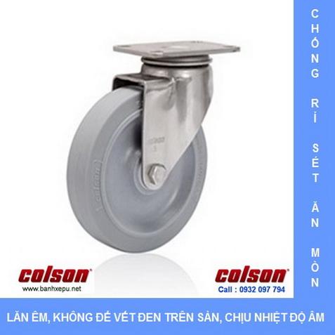 Bánh xe cao su càng inox lăn êm Colson www.banhxepu.net