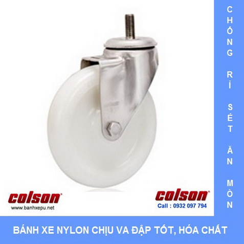 Bánh xe đẩy hàng cọc vít càng inox Colson www.banhxepu.net