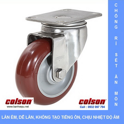 Bánh xe công nghiệp PU đỏ càng inox Colson www.banhxepu.net