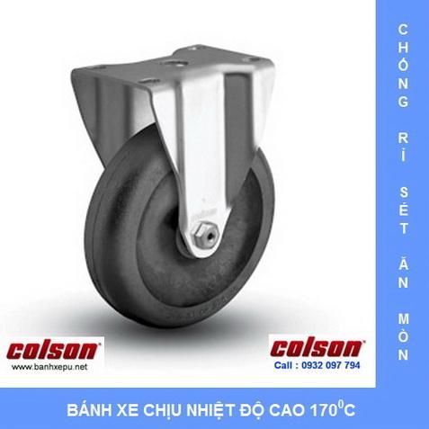 bánh xe chịu nhiệt độ cao càng inox 304 Colson Bánh xe đẩy hàng PU có khóa càng inox Colson www.banhxedayhang.net