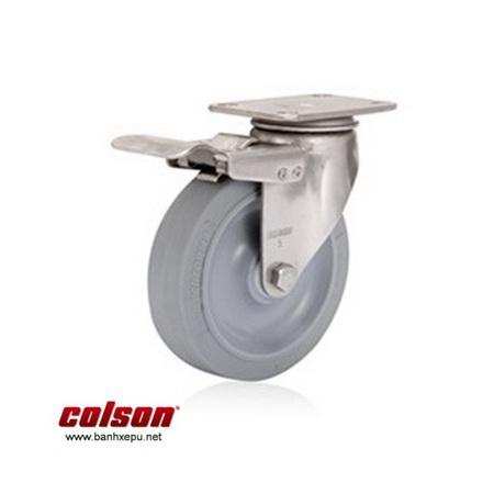 Bánh xe cao su nhỏ càng inox 304 Colson Bánh xe đẩy hàng PU có khóa càng inox Colson www.banhxedayhang.net