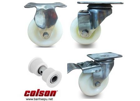 Bánh xe nhựa Nylon các loại càng inox Colson Bánh xe đẩy hàng PU có khóa càng inox Colson www.banhxedayhang.net