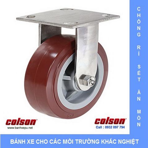 Bánh xe công nghiệp PU đỏ càng inox chịu tải tọng cao Colson www.banhxedayhang.net