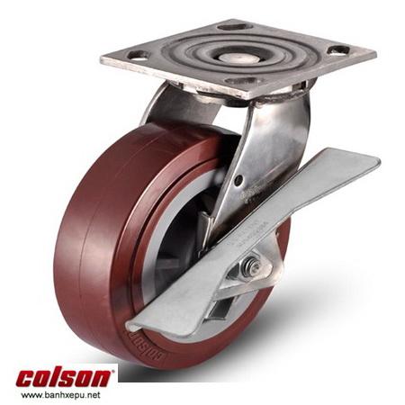 Bánh xe PU càng inox xoay có khóa Colson www.banhxedayhang.net