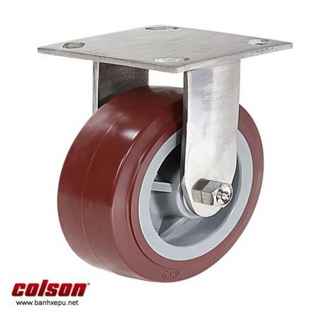 Bánh xe PU đỏ càng inox chịu tải nặng Colson www.banhxedayhang.net