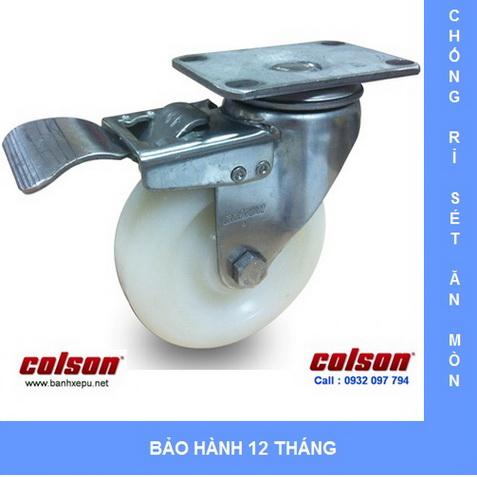 Bánh xe đẩy hàng nhựa Nylon có khóa càng inox Colson www.banhxedayhang.net