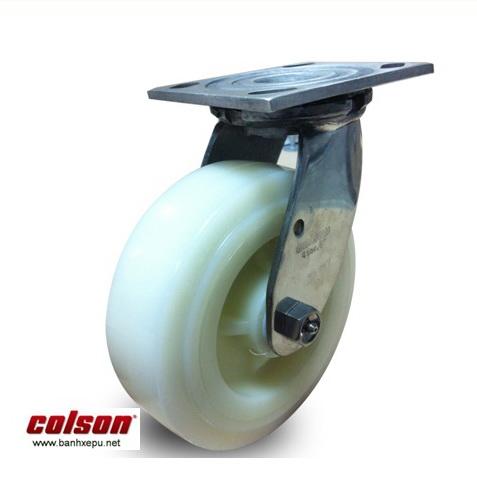 Bánh xe công nghiệp nhựa Nylon trắng càng inox Colson www.banhxedayhang.net