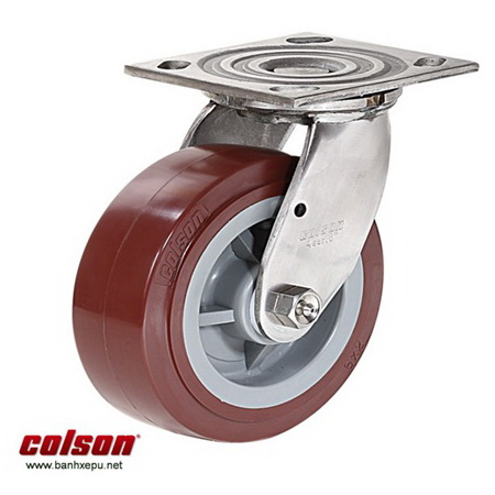 Bánh xe công nghiệp PU càng inox 304 Colson www.banhxedayhang.net