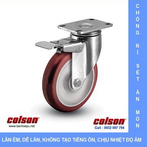 Bánh xe đẩy hàng PU có khóa càng inox Colson www.banhxedayhang.net
