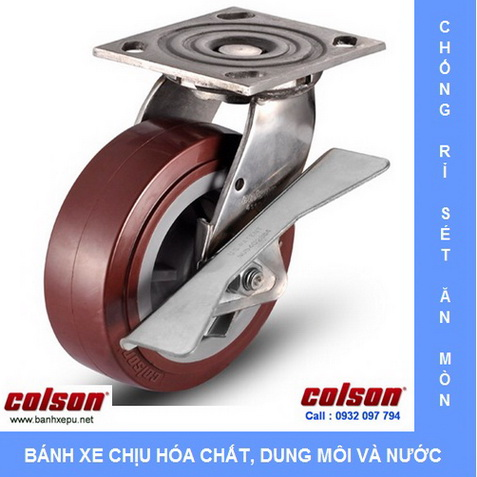 Bánh xe nhựa PU xoay có khóa càng inox 304 Colson www.banhxedayhang.net