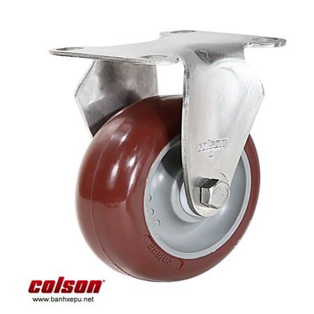 Bánh xe PU đỏ cố định càng inox 304 Colson www.banhxepu.net