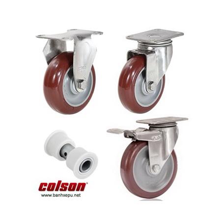 Bánh xe nhựa PU đỏ càng thép không rỉ inox 304 Colson www.banhxepu.net