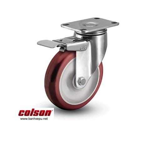 Bánh xe đẩy PU đỏ có khóa càng inox 304 Colson www.banhxepu.net