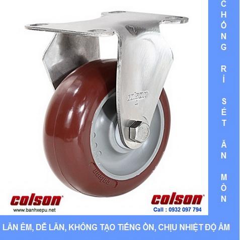 Bánh xe PU đỏ càng inox 304 Colson www.banhxepu.net