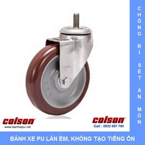 Bánh xe nhựa PU đỏ càng inox 304 cọc vít Colson www.banhxepu.net