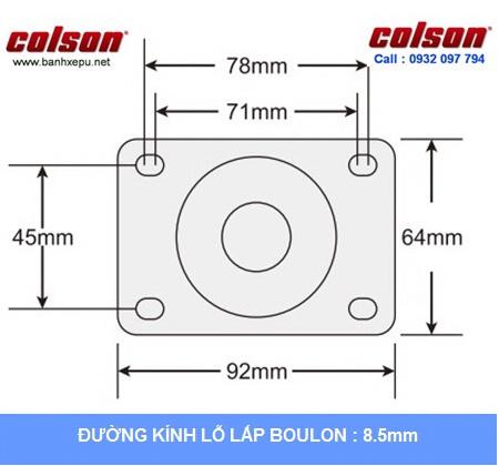 Kích thước tấm lắp mặt bích càng inox 304 Colson www.banhxepu.net