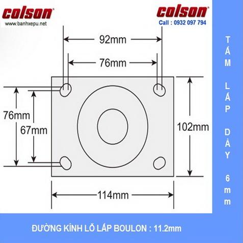 Kích thước mặt bích bánh xe đẩy hàng càng inox Colson www.banhxedayhang.net