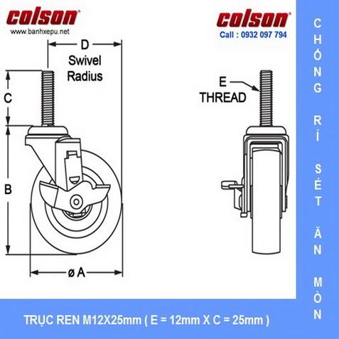 Kích thước trục ren cọc vít bánh xe inox Colson www.banhxepu.net