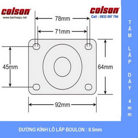 Kích thước mặt bích bánh xe đẩy inox 304 Colson www.banhxepu.net