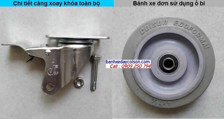 chi tiết càng bánh xe có khóa và bánh xe cao su banhxedaycolson.com