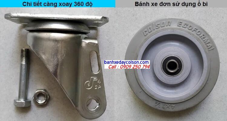 chi tiết càng bánh xe di động và bánh xe cao su banhxedaycolson.com