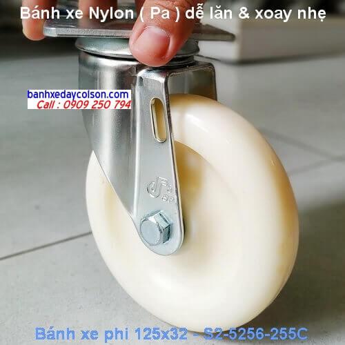 Bánh xe nhựa nylon 125 xoay