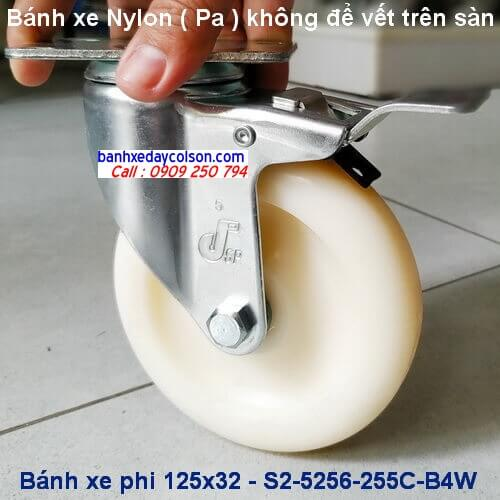 Bánh xe nhựa nylon 125 khóa toàn bộ