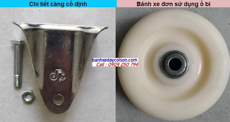 chi tiết càng bánh xe cố định và bánh xe nylon pa banhxedaycolson.com