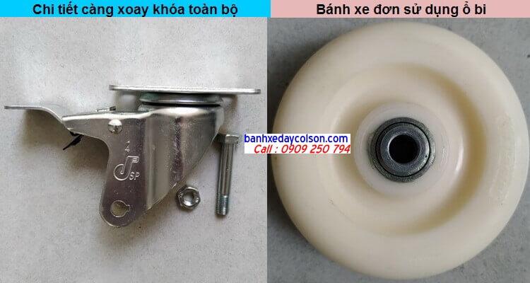 chi tiết càng bánh xe xoay khóa và bánh xe nylon pa banhxedaycolson.com
