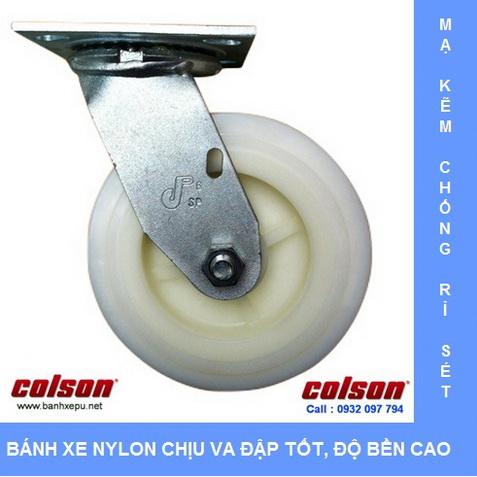 Bánh xe nhựa Nylon trắng chịu tải trọng cao Colson www.banhxedaycolson.com
