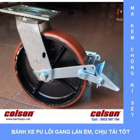 Bánh xe PU lõi gang chịu tải có khóa Colson www.banhxedaycolson.com