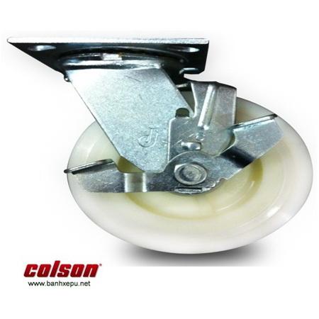 Bánh xe nhựa Nylon trắng có khóa xe đẩy thủy sản Colson www.banhxedaycolson.com