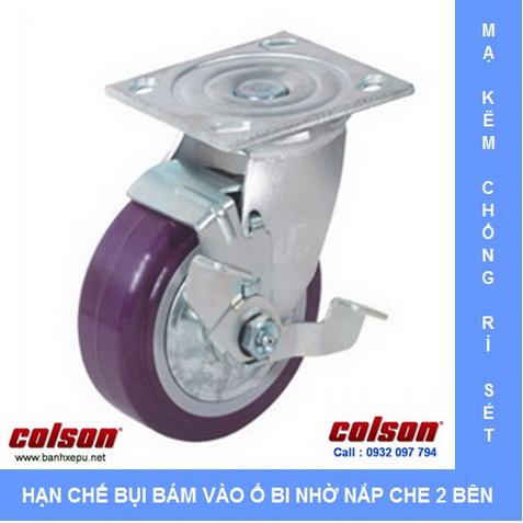 Bánh xe nhựa PU có khóa Colson www.banhxedaycolson.com
