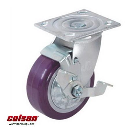 Bánh xe nhựa PU loại xoay có khóa Colson www.banhxedaycolson.com
