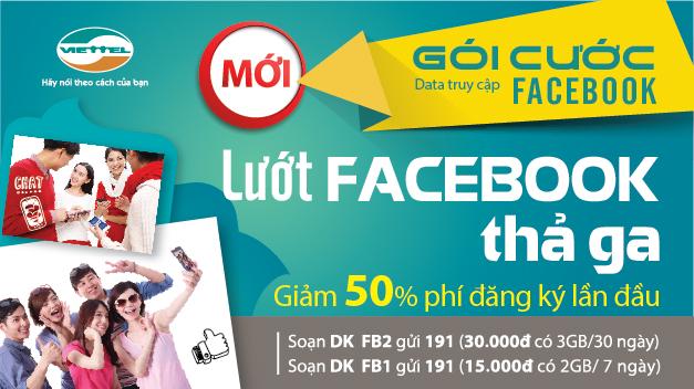 Viettel khuyến mại 50% phí đăng ký gói Facebook thả ga