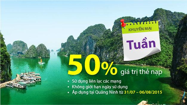 Tuần lễ tặng 50% giá trị thẻ nạp cho đồng bào tỉnh Quảng Ninh