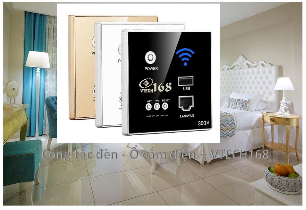 Phát Wifi 300M+ Cổng Mạng + USB - Âm tường