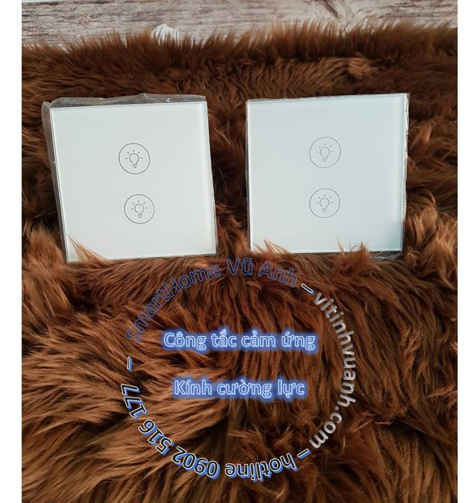 Công tắc cảm ứng 2 phím mặt kính Vila-2G